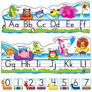 pool party pals abc alphabet line school classroom display border