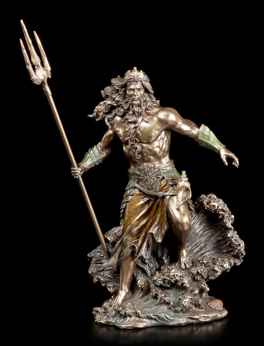 Poseidon Figur erhebt sich aus den Wellen - Veronese Badezimmer Deko Bad Gott
