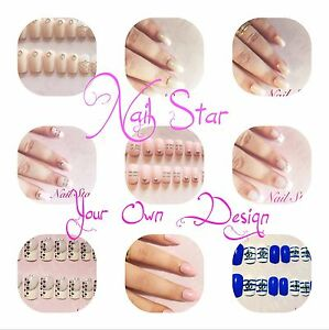 Hand painted 20 full fake nails with your own design with glueby image is loading hand painted 20 full fake nails with your prinsesfo Images