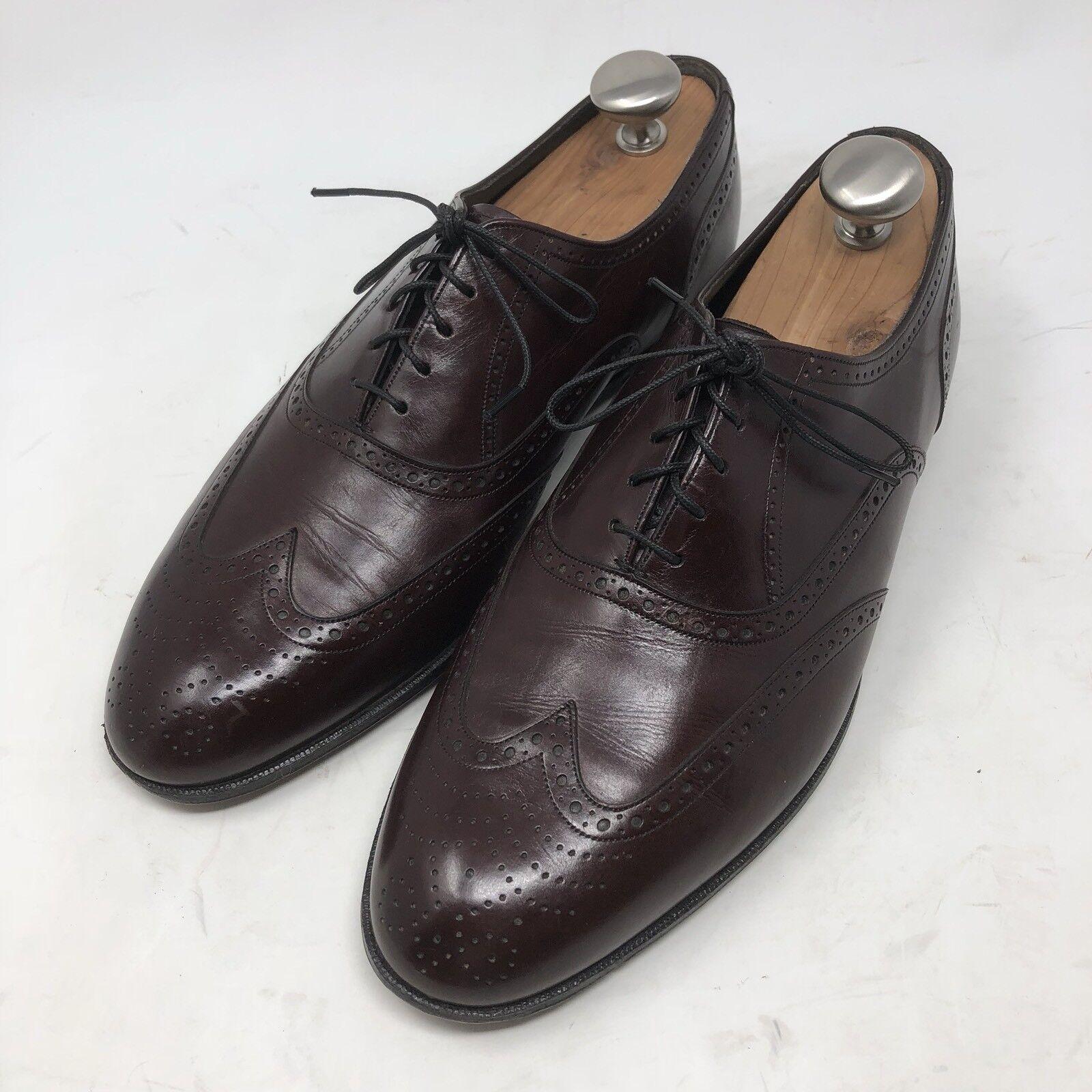 FLORSHEIM Royal Imperial Burgundy Leather WingTip Oxford Brogue Sz 9.5 D Vintage
