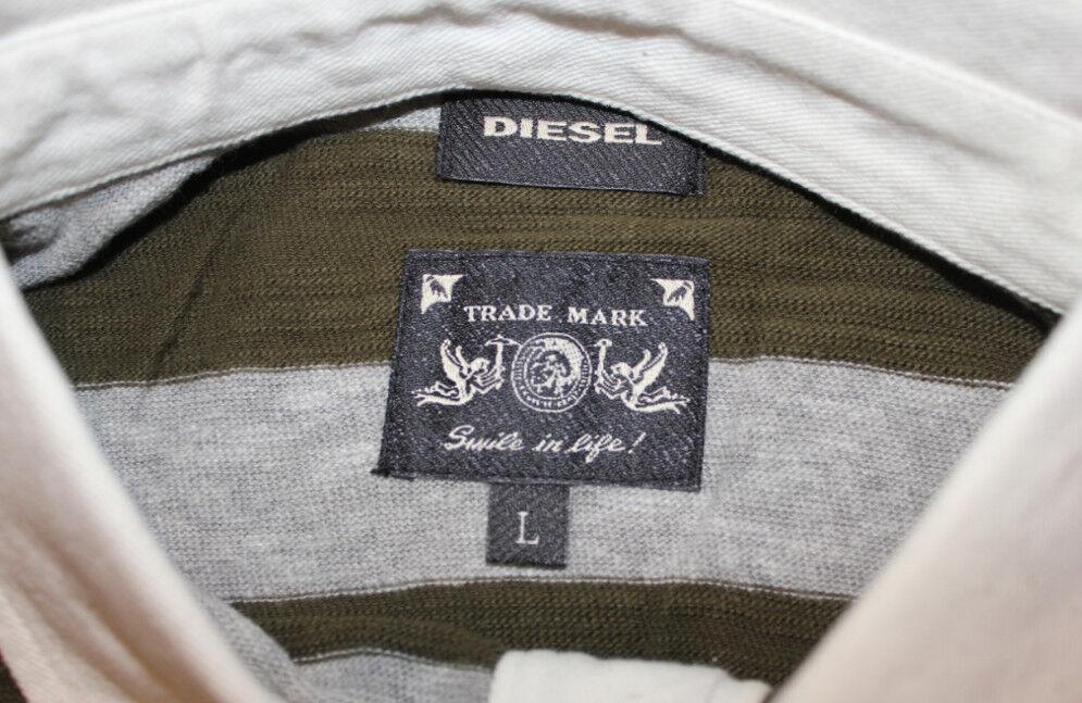 DIESEL T-KADA OLIVE Grün grau STRIPE KNITTED POLO SHIRT Größe Größe Größe L 100% AUTHENTIC  | Luxus  e99655