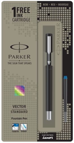 with 3 Free Ink Cartridges Parker Vector Standard Fountain Pen Fine Nib Blue