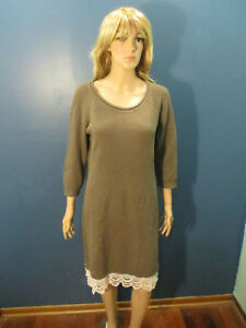 XL-brown-tan-knit-sweater-dress-by-PINK-ROSE-with-LACE-ruffle-at-bottom