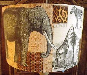 Shabby chic lamp shadelampshade african safari elephant free gift image is loading shabby chic lamp shade lampshade african safari elephant aloadofball Images