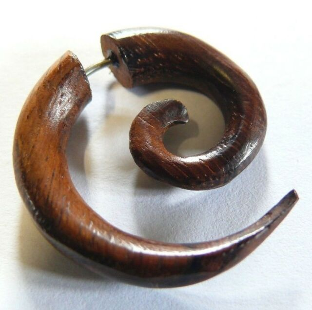 Wooden EARRING Wood PIERCING TRIBAL GAUGE EAR FAKE EXPANDER Spiral Brown