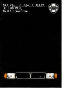 Catalogue Brochure Depliant Lancia Delta Gt 1300 1500 1600 Automatique Un Style Actuel