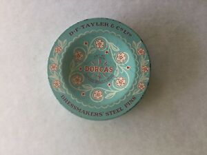 ANTIQUE-OLD-VINTAGE-RETRO-SEWING-CRAFT-TIN-DORCAS-PINS-for-quilting-patchwork