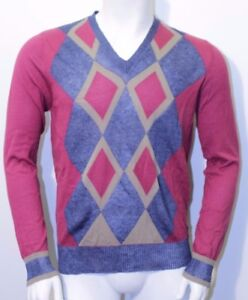 32705f604ea3 BURLINGTON men s v neck sweater argyle cotton   linen