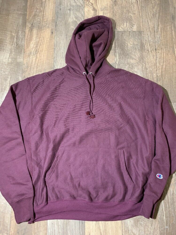 New Champion Reverse Weave Icon Hoodie Dark berry lila  sleeve logo Sz Large