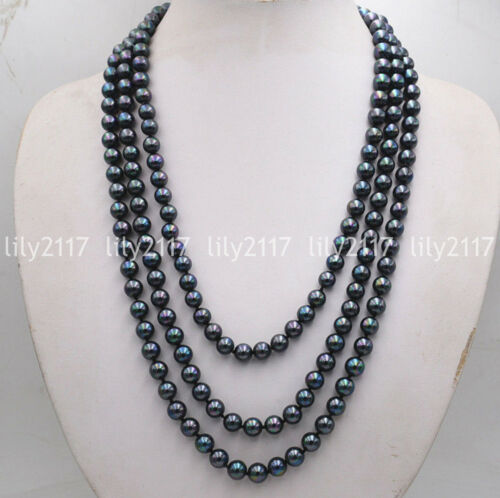 """Beautiful Natural 8mm Black South Sea Peacock Shell Pearl beads Necklace 80/"""" AAA"""