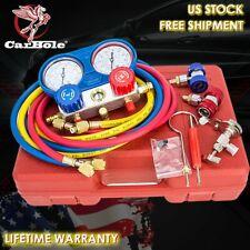 R134a R410a R22 Hvac Ac Manifold Gauges Set Refrigerant Kit 5ft Ac Vacuum Pump