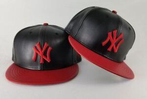 6578c038dd9 New Era MLB New York Yankee 59Fifty Black   Red PU Faux Leather ...