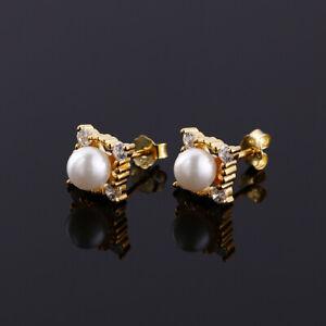 925-Sterling-Silver-Genuine-White-Freshwater-Pearl-Gold-Stud-Earrings-Wedding