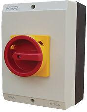 ESR Large Electrical Switch Rotary Isolator 4 Pole 63A IP65 Enclosure Box E634P