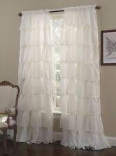 """1-pc Cream Shabby Crushed Voile Sheer Chic Ruffle Curtain Panel 60"""" x 63"""""""