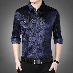 Men-Velvet-Shirt-Casual-Long-Sleeve-Pleuche-Top-Dragon-Business-Dress-Thick-Slim