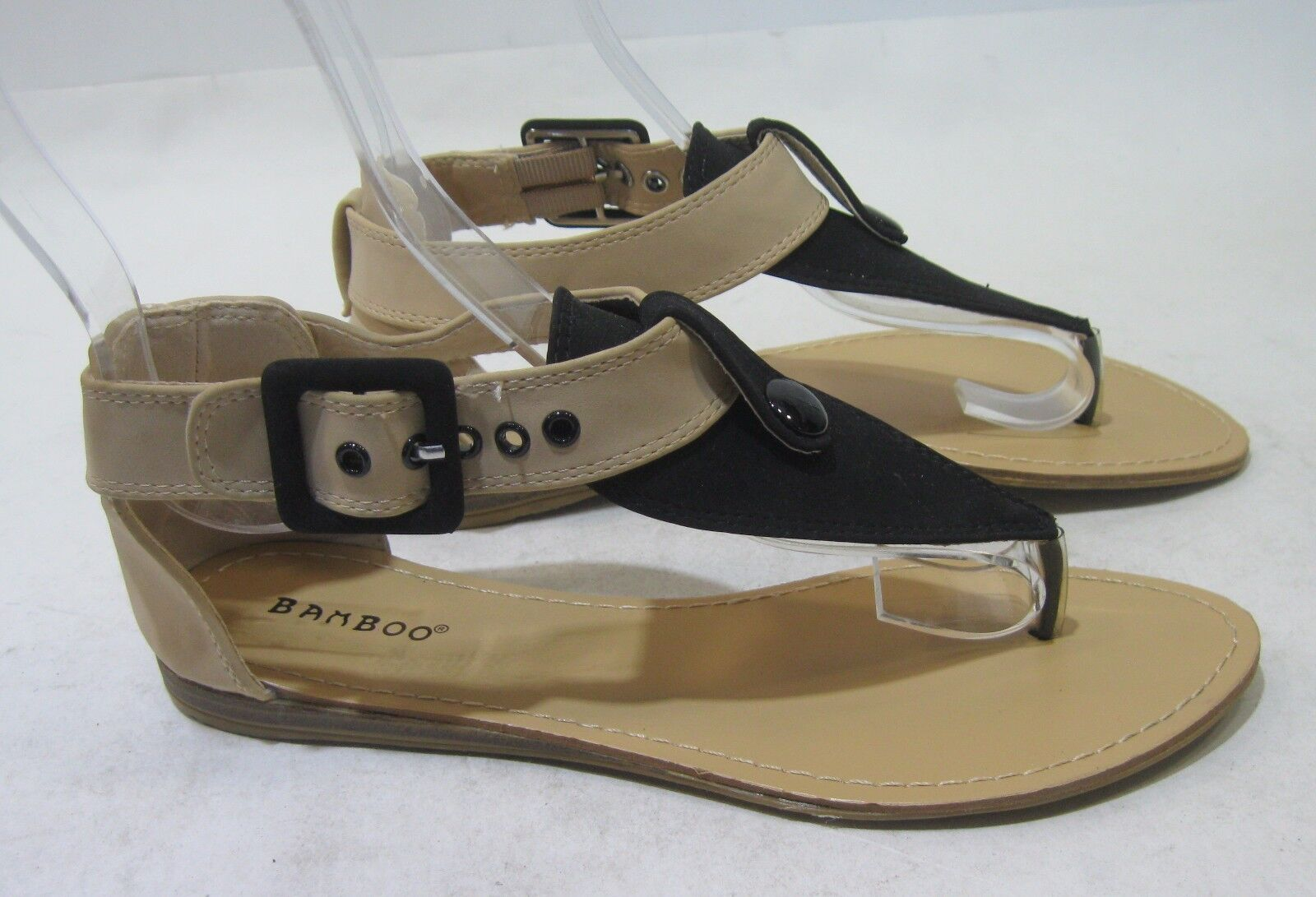 Summer Skintone/Black Sexy Flat Shoes Womens Shoes Sexy Sandal Shoes Flat Size 8.5 a18e24