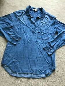 NWOT-NEW-CLOTH-amp-STONE-casual-tunic-blouse-long-sleeves-L-LARGE-12-breast-pocket