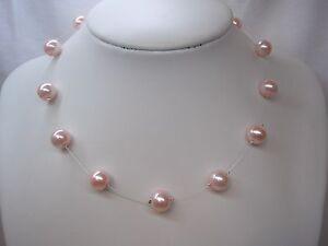 17ct-Hecho-A-Mano-Grueso-Flotante-Ilusion-Collar-10mm-De-Color-Perlas