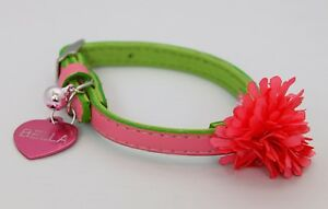 MARTHA-STEWART-PINK-leather-Fancy-Cat-Collar-kitten-bell-with-ENGRAVED-TAG-bling