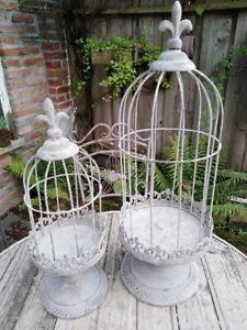 2er-Set-Cage-pour-Plantes-Deco-Antik-Stil-Shabby-Metal-Antique-Patine-E-Neuf