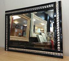 NUOVO Moderno Art deco acrilico cristallo vetro design BISELLATI SPECCHIO 120x80cm NERO