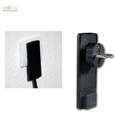 EVOline Plug extraflacher Schukostecker schwarz ohne Kabel Schuko Flachstecker