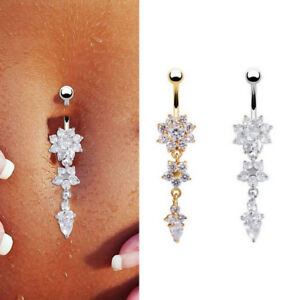 Body-Piercing-Jewelry-Crystal-Flower-Dangle-Navel-Belly-Button-Bar-Barbell-Rings