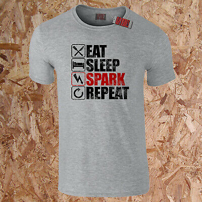 to 5XL Eat Sleep ELECTRICS Electrician Sparks Funny Gift T-Shirt 16 Colours