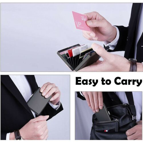 Steel Smart Credit Card Case Wallet RFID Technology Protect Business Card Holder