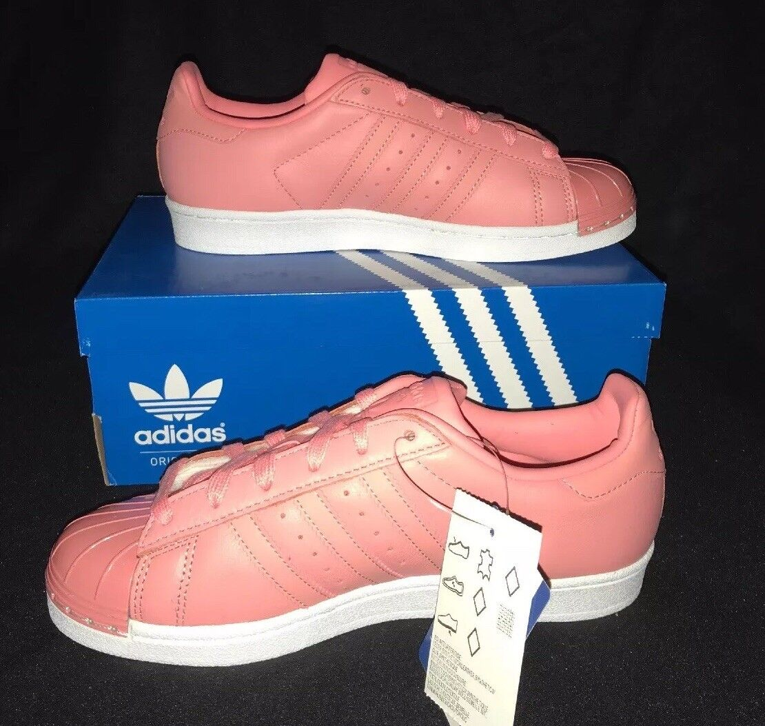 Adidas Trainers Superstar Metal Toe In Rosa And Weiß Größe 5