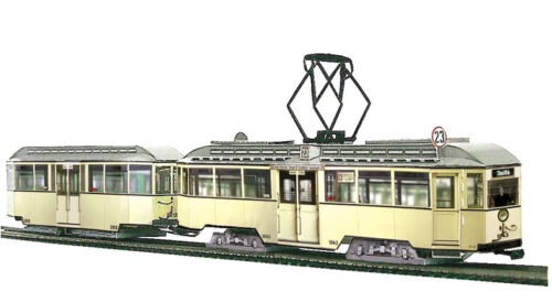 1:87-h0 Tram modello Tram SCATOLA KIT typ29 Leipzig con carrozzetta maßst