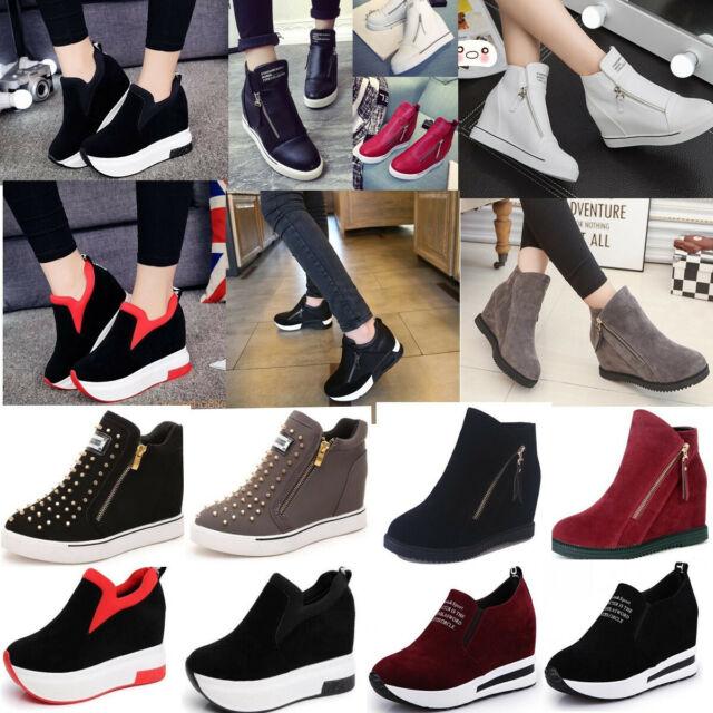 Ladies Mid Hi High Zip Top Hidden Wedge Platform Womens Ankle Boots Trainers Sho