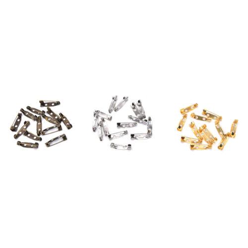50pcs Safety Brooch Catch Bar Locking Pins Back Base Findings DIY Craft 20mm OLL