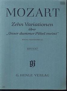 """Mozart - 10 Variationen über """" Unser dummer Pöbel meint """" KV 455 ~ Urtext"""