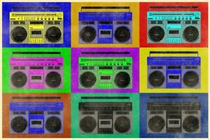 Pop-Art-Boombox-Grid-Textured-inch-Poster-24x36-inch