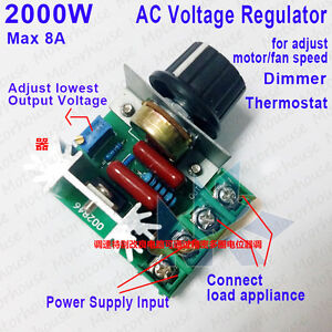 2000W AC50-220V SCR Dimmer Motor Speed Controller Adjustable Voltage Regulator d
