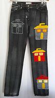 Castelbajac Designer Black Cotton Denim Tall Stretch Jeans Size 28 Italy