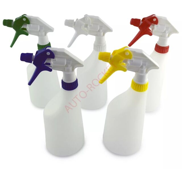 5 x Trigger Spray Bottles 650ml, Valeting, Hydroponics, chemical resistant heads