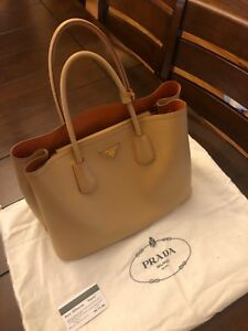 b1b2ca025d68 Image is loading Authentic-PRADA-Saffiano-Cuir-Leather-Double-Tote-Bag