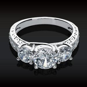 09aaef54ebff5 2.61 CT 3 Stone Brilliant Cut Engagement ring Past Present Future ...
