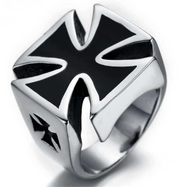 Mens Stainless Steel Ring, Biker, Silver, Black, Cross, KR2213