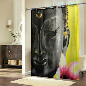 Buddhism Buddha Relax Wellness Modern Waterproof Bath Drape Shower ...