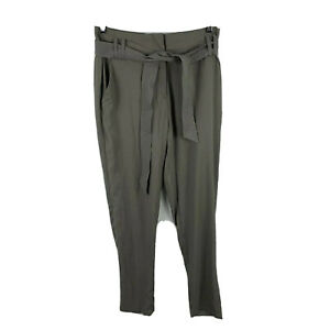 Witchery-Womens-Pants-Size-6-Olive-Green-Elastic-Waist-Tie-Closure-Pockets