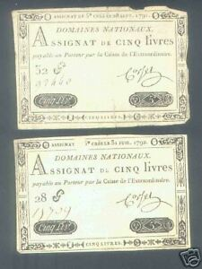 2-ROYAL-EMBOSSED-ASSIGNAT-5-LIVRES-VALUE-YEARS-1791-amp-2