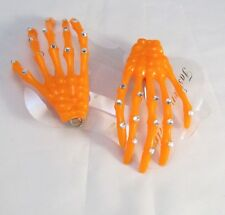 Skeleton Hand Hair Clip Pair Orange Halloween Costume Spooky Creepy sparkle