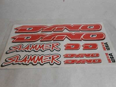 DYNO Slammer  BMX BIKE Bicycle Decals 10 Stickers Red White Black On Clear