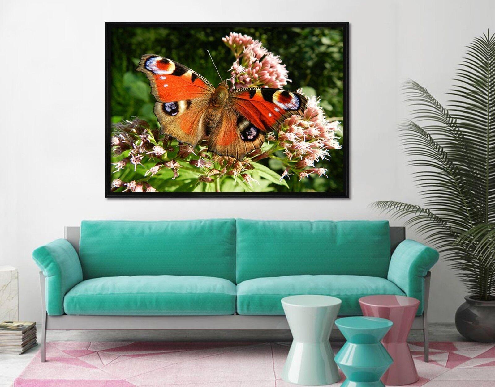 3D Mariposa Flor 2 Póster Enmarcado Decoración del Hogar Pintura de Impresión Arte AJ Wallpaper