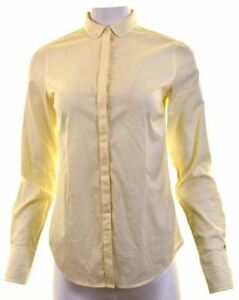 TOMMY-HILFIGER-Womens-Shirt-US-6-Medium-Yellow-Striped-Cotton-Fitted-HA03