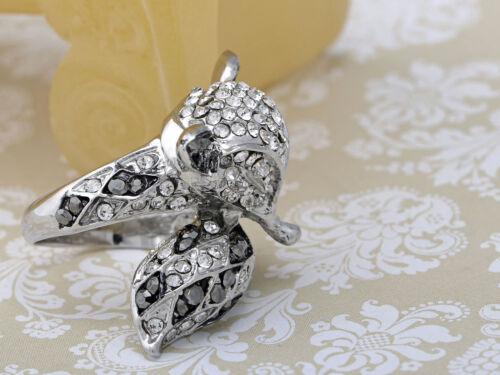 Women Foxy Fox Animal Crystal Rhinestone Silver Tone Jewelry Fashion Adjust Ring